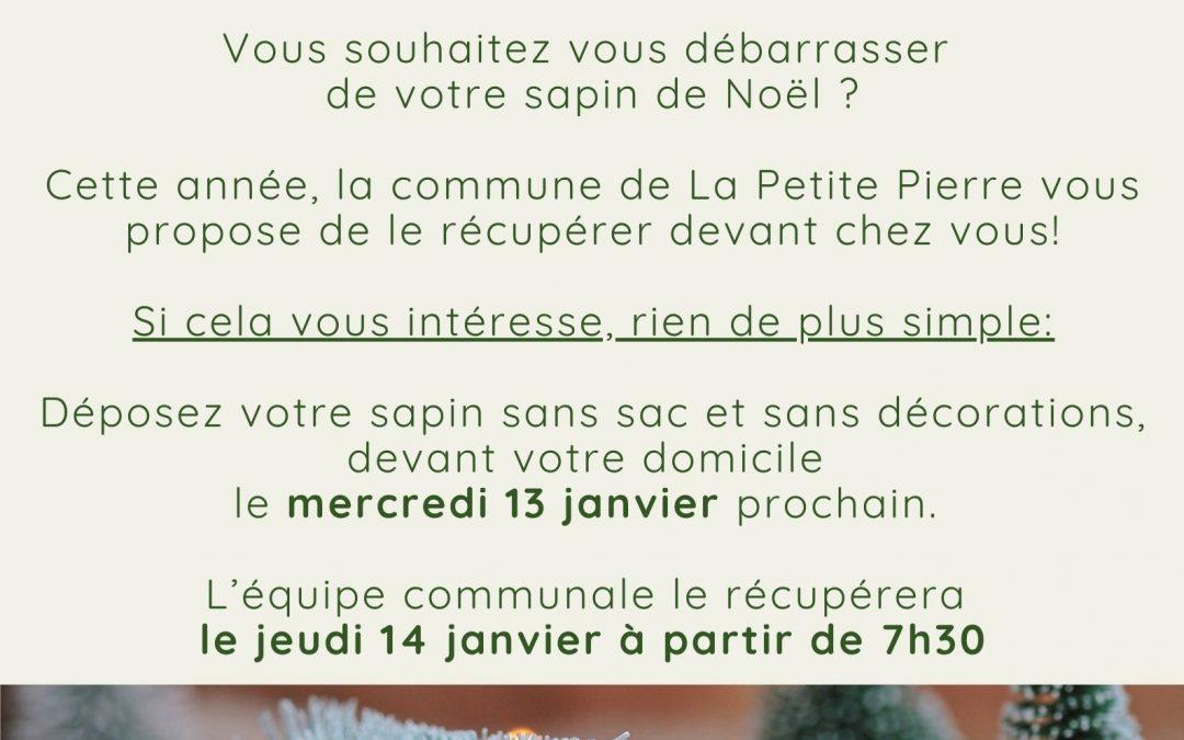 La commune de La Petite Pierre vous propose de récupérer votre sapin devant chez vous.